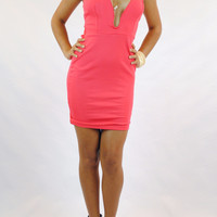 (aml) Rounded plunge short orange dress