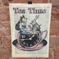 Alice and Wonderland Dictionary Art Print Wall Art Poster Framed Tea Time Whimsical