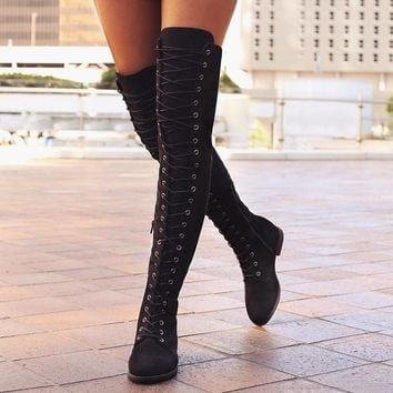 Cross-tied  Knee High Boots