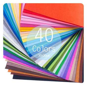 40 Colors Felt Sheet 1mm DIY Handmade Craft Supply Square Polyester Fabric Embroidery Scrapbooking Home Decor 30x30cm-10x15cm
