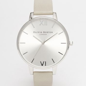 Olivia Burton Big Dial Grey Leather Strap Watch