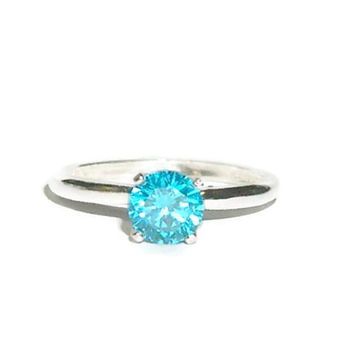 Sterling Silver Promise Ring, High Set Ring, Blue Diamond Ring, 1 Carat Solitaire Ring