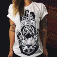 Women's Printed T-Shirt (Hippie Style Print)
