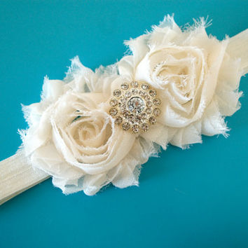 Baby Headband.Ivory Rosette Headband.Newborn Headband.Infant Headband.Baby Girl Headband.Photo Prop.Wedding Headband.Ivory Headband.Baby Bow