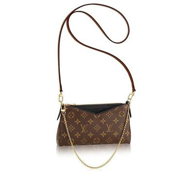 DCK4S2 Authentic Louis Vuitton Monogram Canvas Pallas Clutch Handbag Noir Article: M41639 Made in France
