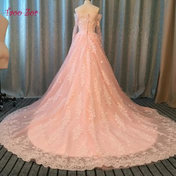 TaooZor 2017 Vintage Embellished Ball Gown Wedding Dresses Sheer Tulle Skirt Appliques Crystals Flowers Bridal Gowns Plus Size