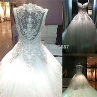 Luxury 2017 Ball Gown Wedding Dress Crystal Beaded 2016 Cathedral/Royal Train Vestido De Noiva High Quality Wedding Dresses