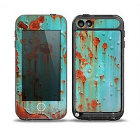 The Teal Painted Rustic Metal Skin for the iPod Touch 5th Generation frē LifeProof Case
