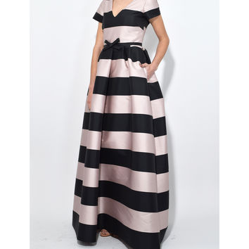 Rochas Stripe Gown - Light Pink Black V Neck Design Gown