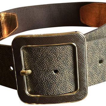 "Michael Kors Women's Buckle 2"" Wide Stretch Gold Tone Belt Brown M/L"