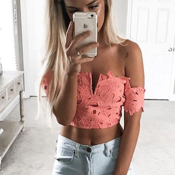 Jules Coral Crop Top
