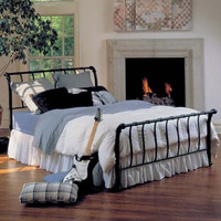 King Size Metal Sleigh Bed in Textured Black Finish