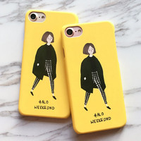 Fashion Cute Girl Case For iphone 7 Case For iphone7 6 6S Plus Back Cover Lovely Cartoon Yellow Hard Phone Cases Capa Funda -Girllove100