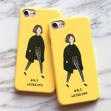 Fashion Cute Girl Case For iphone 7 Case For iphone7 6 6S Plus Back Cover Lovely Cartoon Yellow Hard Phone Cases Capa Funda -0316