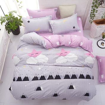 3 or 4 Piece Kids Duvet Cover Bedding Set Pink and Gray