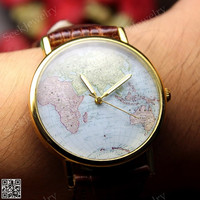 Mens Maps watches World Maps Wristwatch Genuine Leather Unisex watch Vintage Women wrist watch