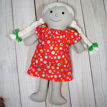 """16"""" Rag Doll with Blonde Braids, Dress Up Doll"""