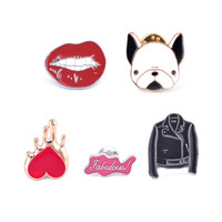 Colorful Enamel Pins Set Sexy Red Lip Bulldog Black Jacket Cowboy Heart Badge Cartoon Brooches Women Girl Clothing Accessories