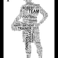 Footballers - Personalised A4 Word Art Print FREE UK P&P. Unique Gift, Sports,
