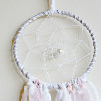 Silver Dream Catcher, Pink Dreamcatcher, Boho Dreamcatcher, Nursery Decor, Pink and White Bedroom Decor, Gold and White Decor, Boho Chic