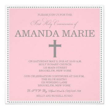 Modern First Communion Invitation for Girls