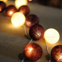 20 string light cotton ball warm wood love forest nature texture burnt furniture strand decor patio party wedding light
