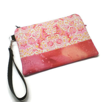 Pink horses zippered cell phone wristlet wallet. iPhone 5 wristlet, iPhone 6 plus wristlet, monogram wristlet, personalized wristlet.