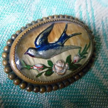 Lovely Victorian or Edwardian Intaglio Reverse Painted Swallow Pin with Rose Spray, Beautiful Blue Bird