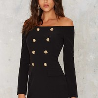 Jackie Off-the-Shoulder Mini Tux Dress