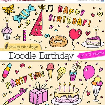 80% OFF SALE Doodle birthday clipart / birthday digital clipart pack / hand drawn birthday party doodles for invitation cards and more