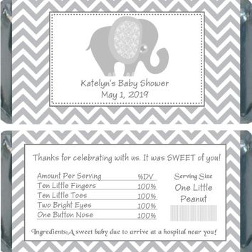 10 Grey Elephant Baby Shower Chocolate Bar Wrappers