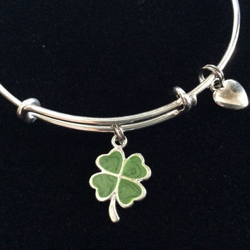 Green Resin Four Leaf Clover Charm on Silver Expandable Adjustable Wire Bangle Bracelet Stacking Handmade Trendy Gift