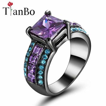 TianBo White/black/gold-color Ring for Lady Paved Purple/sky-blue Cz Zircon Luxury Princess Women Wedding Engagement Ring Size 8