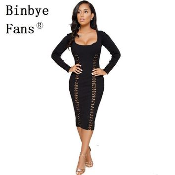 Binbye Fans Knitted Bodycon Bandage Dress Vestidos Off Shoulder Womens Robe Sexy Dresses Night Club Party Dress CH339