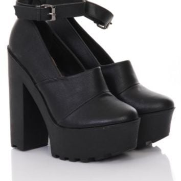 Black Tread Sole Platform Shoes - from Lavish Alice UK