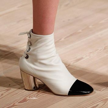 Elegant White Black Color Blocking Leather Ankle Boots Runway Fashion Arcuated Thick Heel Women's Shoes Ankle Strappy Boots