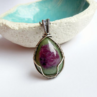 Ruby zoisite silver necklace, natural wrapped jewelry, elegant necklace, healing stone, OOAK