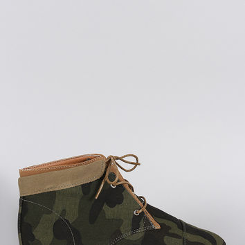Bamboo Camouflage Fold Over Cuff Lace Up Booties