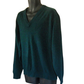 Men Cashmere Sweater Green Sweater Men Christmas Sweater Men Pullover Sweater V Neck Sweater Green Christmas Holiday Sweater Vintage