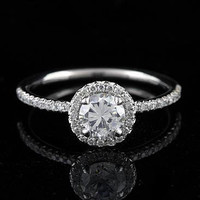 Platinum 80Ct Micro Pave Diamond Engagement Ring by OroSpot