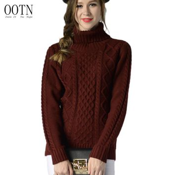 OOTN Women Sweater Long Sleeve Turtleneck Pullover Sweater Women Female Tunic Top Autumn Winter Female Red Black Sweaters Cotton