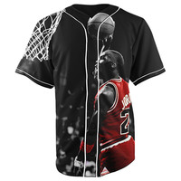Michael Jordan Black Button Up Baseball Jersey