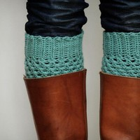 Crochet Boot Cuffs In Pastel Mint Green | Luulla