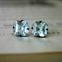 Margaret Cushion Cut Square Stud Earrings vintage by orangejuniper