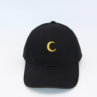 Black Moon Embroidered Baseball Hat Hat