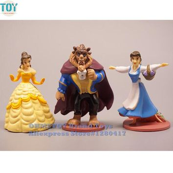 OHMETOY 3PCS Princess Beauty and the Beast Belle Action Figures Girl Birthday Gift Cake Toppers 10cm Juguetes