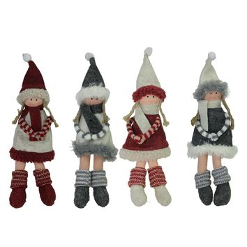 """Set of 4 Plush Red Gray and Beige Winter Girls Christmas Doll Ornament Decorations 12"""""""
