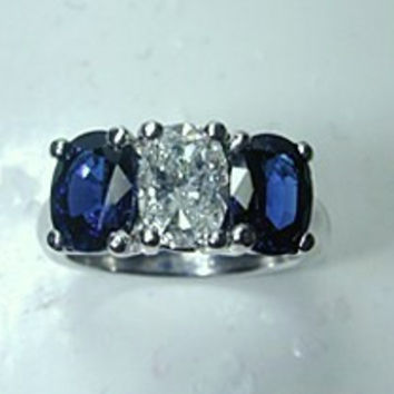 2.35ct  Oval Diamond Blue Sapphire Engagement Ring 18kt White Gold JEWELFORME BLUE  GIA certified