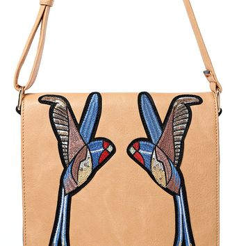 Beige Crossbody Bag With Bird Embroidery