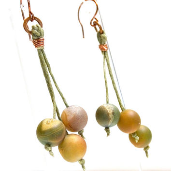 Velvety soft green and burgundy  Druzy agates hang from waxed Irish linen cord in these urban chic drop earrings